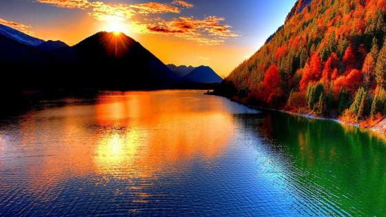 Sunset over the autumn river wallpaper