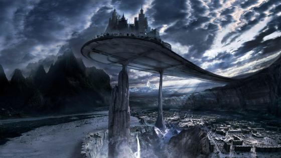 Futuristic world fantasy art wallpaper