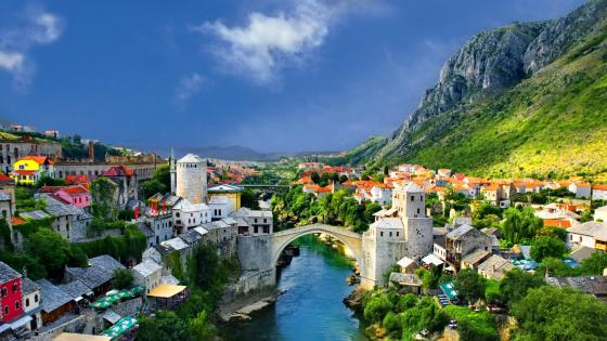 Old Bridge above Neretva wallpaper