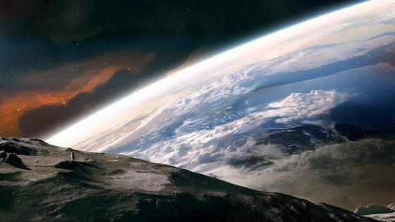 Earth from the moon - Futuristic space art wallpaper