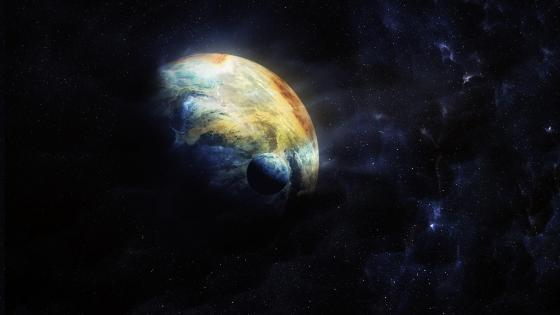 Planet with moon in the outer space wallpaper