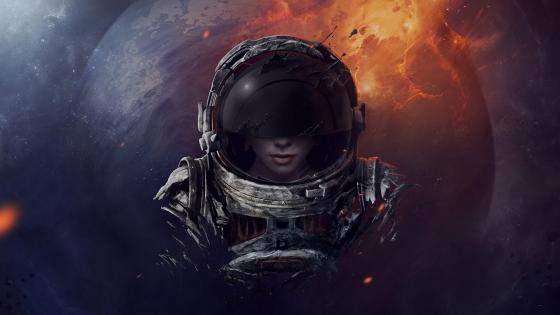 Cosmonaut woman wallpaper