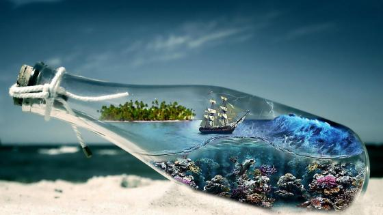 Storm vision in a bottle - Fantasy art wallpaper