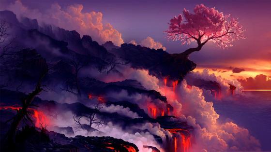 Sakura tree in the lava flow wallpaper