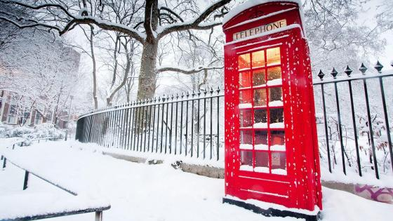 Snowy red call box  wallpaper