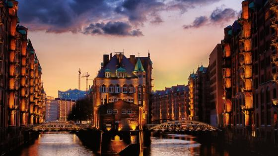 Warehouse district in Hamburg wallpaper