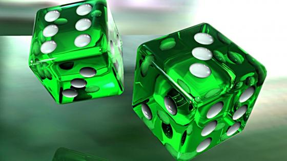 Green 3D dice wallpaper