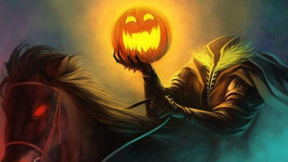 Halloween creepy headless rider wallpaper