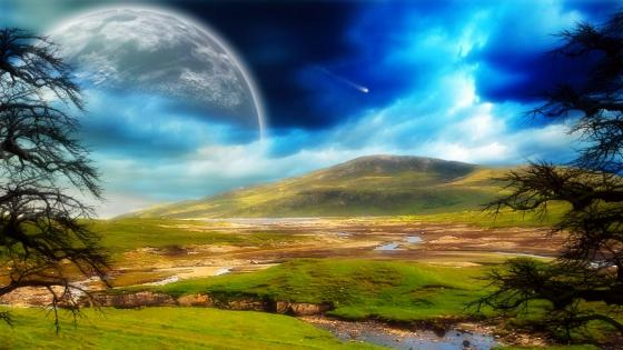 Planet over the hill - Fantasy art wallpaper
