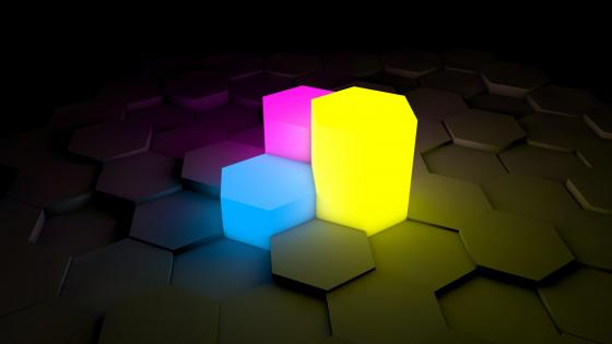 3D Neon hexagons wallpaper
