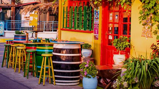 Colorful restaurant in Greece wallpaper