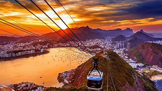 Copacabana sunset view from Sugar Loaf cable car wallpaper
