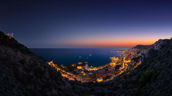 Panoramic view of Monte-Carlo, Monaco at night wallpaper
