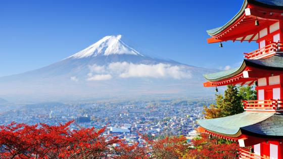 Mount Fuji and Chureito Pagoda wallpaper