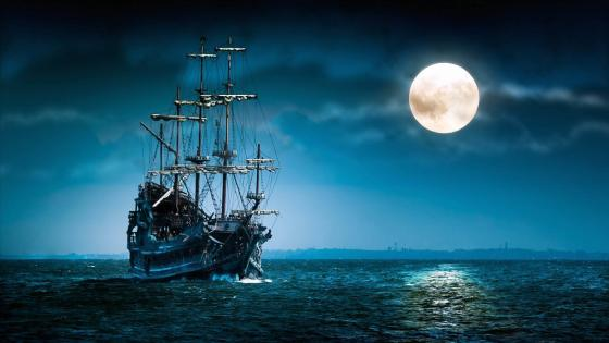 Vintage sailing ship in the full moon wallpaper