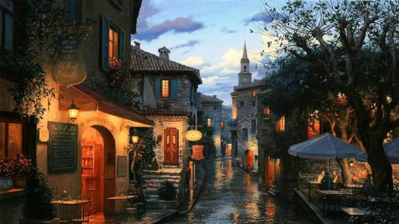 Rainy evening painting art wallpaper