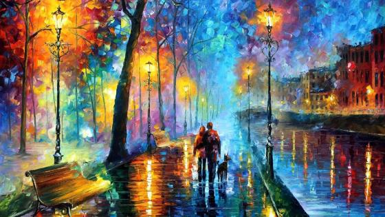 Rainy street - Painting art wallpaper