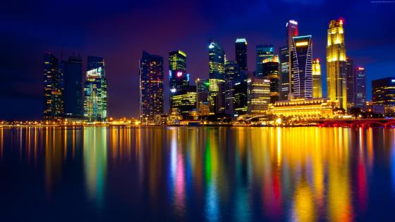 Marina Bay at night (Singapore) wallpaper