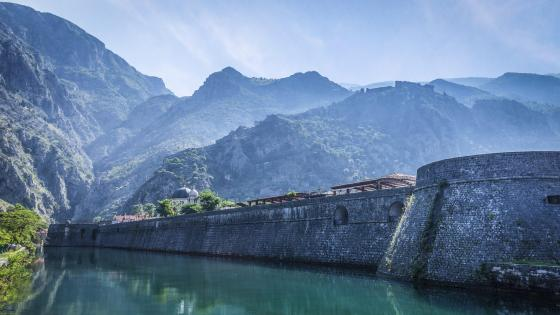 Kotor city walls in Skurda river - Montenegro wallpaper