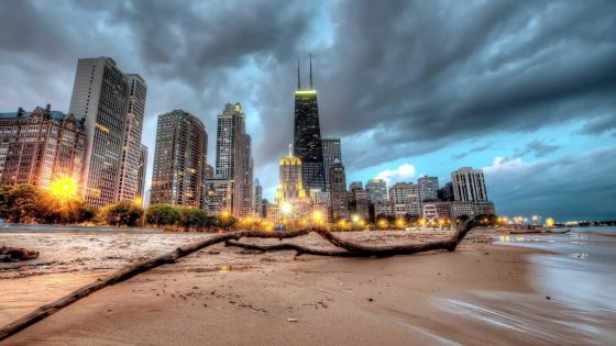 Sandy beach in Chicago wallpaper