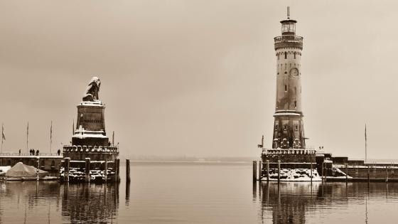 Lindau Lighthouse in winter - Monochrome photography wallpaper