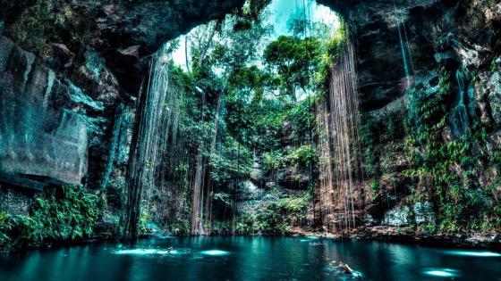 Cenote Ik kil cave wallpaper