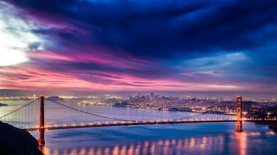 Golden Gate Bridge at dusk wallpaper
