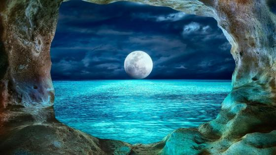 Prohodna Cave in Moonlight from Bulgaria wallpaper