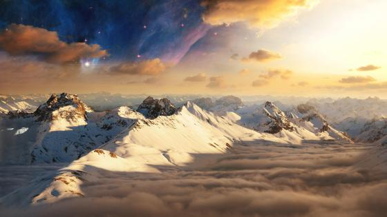 Snowy mountain peaks above the clouds and the moon wallpaper