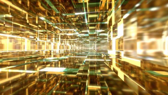 3D gold cubes wallpaper