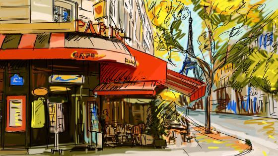 Paris street scene art wallpaper