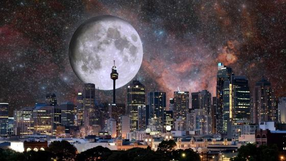 Full moon photo manipulation wallpaper