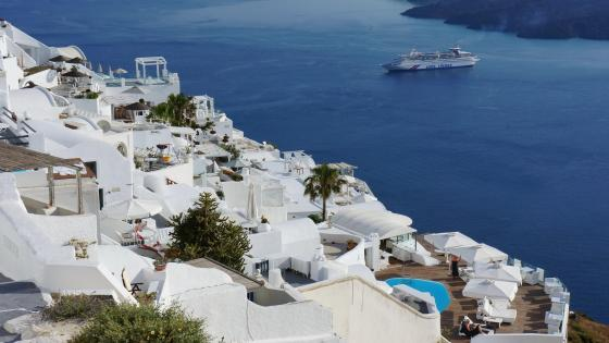 Greek village in Santorini wallpaper