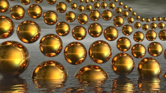 Gold spheres wallpaper