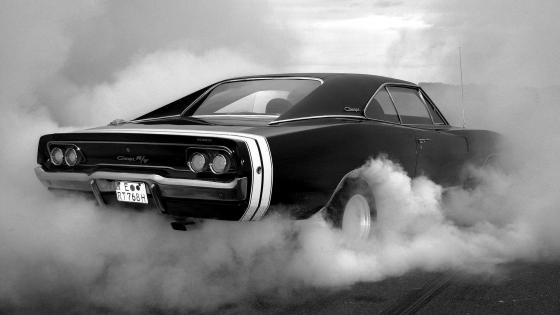 Black and white Dodge Charger wallpaper