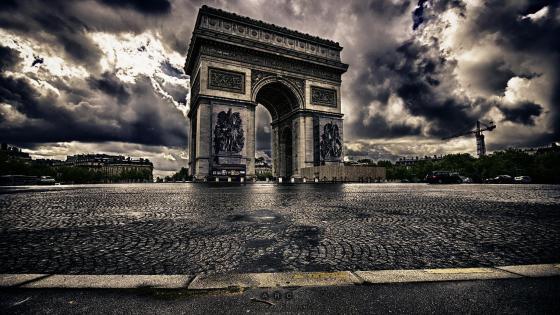 Arc de Triomphe - monochrome photography wallpaper