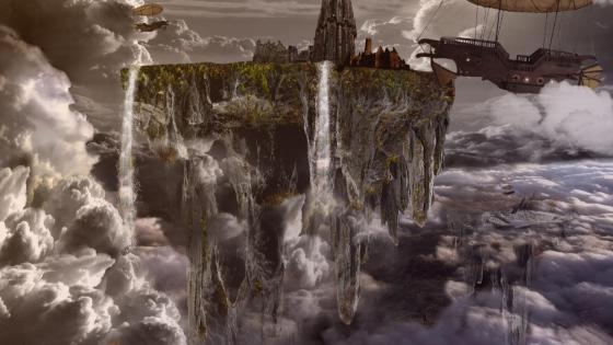 Floating city fantasy art wallpaper