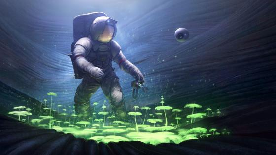 Astronaut on a new planet wallpaper