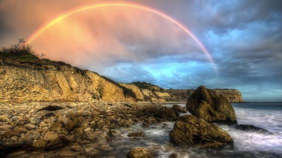 Rainbow above the seashore  wallpaper