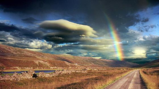 Endless road with rainbow  wallpaper