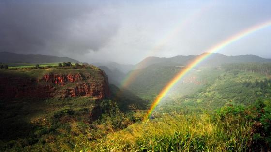 Rainbow over the hills  wallpaper