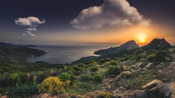 Corsica sunset wallpaper