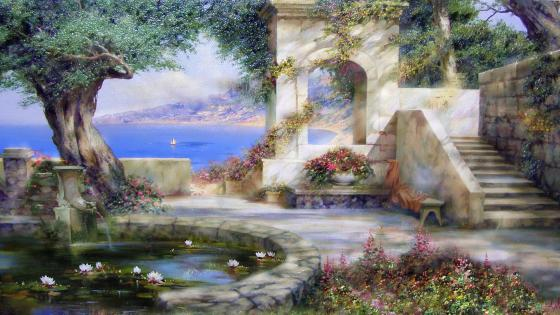 Nostalgic sea painting wallpaper