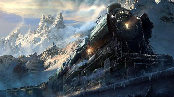 Train along mountainside wallpaper