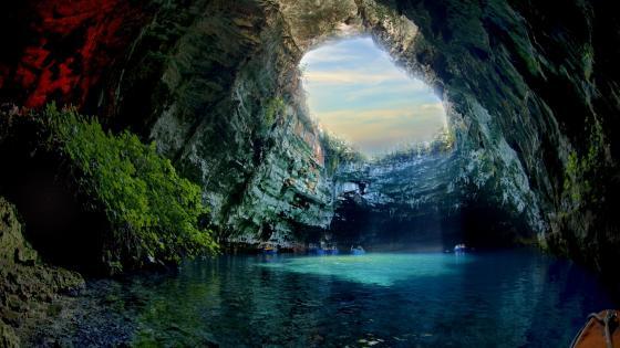 Lake-Melissani Cave wallpaper