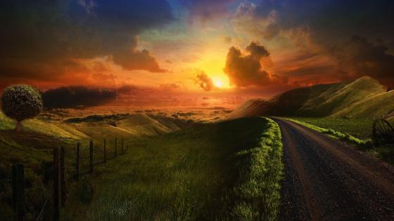 Heaven path at sunset  ️ wallpaper