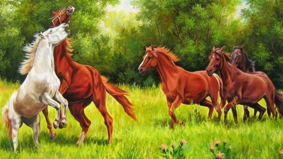 Painting of horses  wallpaper