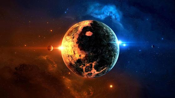 Yin yang planet space art wallpaper