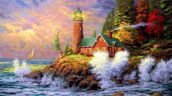 Lighthouse - Painting art  wallpaper