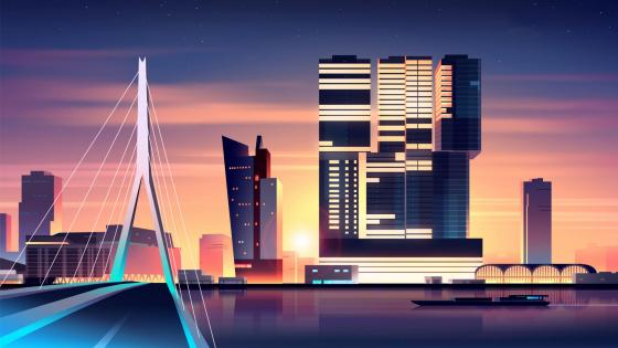 Sunset cityscape digital art wallpaper